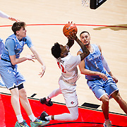 05 December 2018: San Diego State Aztecs guard Jeremy Hemsley (42) goes up for a shot on a fast break in the first half. The Aztecs lost to the Toreros 73-61 at Viejas Arena. .