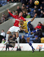 Photo: Paul Thomas.<br /> Mansfield Town v Walsall. Coca Cola League 2. 20/01/2007.<br /> <br /> Daniel Fox (L) of Walsall wins a header from Alex John Baptiste.