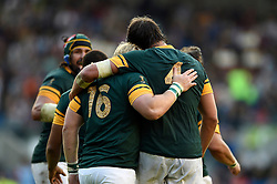 Adriaan Strauss of South Africa embraces team-mate Victor Matfield after scoring a try - Mandatory byline: Patrick Khachfe/JMP - 07966 386802 - 19/09/2015 - RUGBY UNION - Brighton Community Stadium - Brighton, England - South Africa v Japan - Rugby World Cup 2015 Pool B.