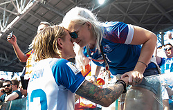MOSCOW, RUSSIA - Saturday, June 16, 2018: Iceland's Ari Skulason kisses his wife after the 1-1 draw with Argentina during the FIFA World Cup Russia 2018 Group D match between Argentina and Iceland at the Spartak Stadium. (Pic by David Rawcliffe/Propaganda)