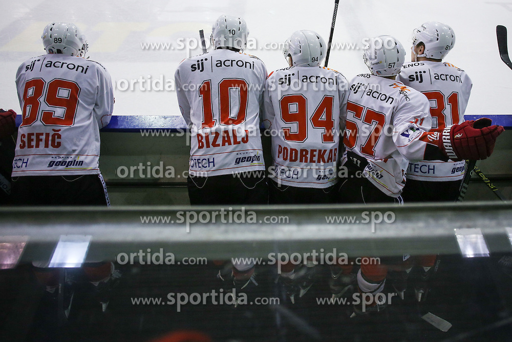 Players of Jesenice during ice hockey game between HDD Telemach Olimpija and SIJ Acroni Jesenice in 3rd leg of Finals of Slovenian National Championship 2015, on April 13, 2015 in Hala Tivoli, Ljubljana, Slovenia. Photo by Matic Klansek Velej / Sportida