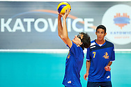 Katowice, Poland - 2017 September 02: Athlete Enrico Cerutti from SO Italy receives the ball while SO Italy versus SO Belarus during European Unified Volleyball Tournament 2017 at Spodek Hall on September 02, 2017 in Katowice, Poland.<br /> <br /> Adam Nurkiewicz declares that he has no rights to the image of people at the photographs of his authorship.<br /> <br /> Picture also available in RAW (NEF) or TIFF format on special request.<br /> <br /> Any editorial, commercial or promotional use requires written permission from the author of image.<br /> <br /> Image can be used in the press when the method of use and the signature does not hurt people on the picture.<br /> <br /> Mandatory credit:<br /> Photo by © Adam Nurkiewicz / Mediasport
