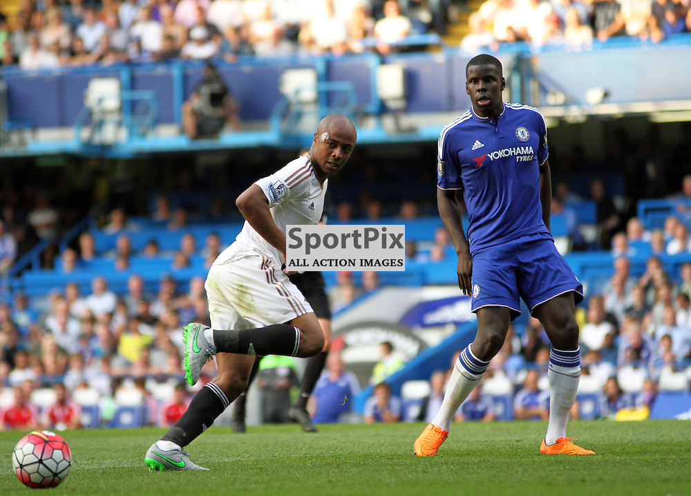 Andre Ayew on his swansea debut is closed down by Kurt Zouma of Chelsea (right) During Chelsea vs Swansea on the 8th August 2015.