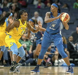 May 25, 2019 - Minneapolis, MN, USA - United States - Minnesota Lynx Sylvia Fowles took control of the ball during the first quarter as the Lynx took on Chicago for their season opener at the Target Center, Saturday, May 25, 2019 in Minneapolis, MN.    ]  ELIZABETH FLORES • liz.flores@startribune.com (Credit Image: © Elizabeth Flores/Minneapolis Star Tribune via ZUMA Wire)