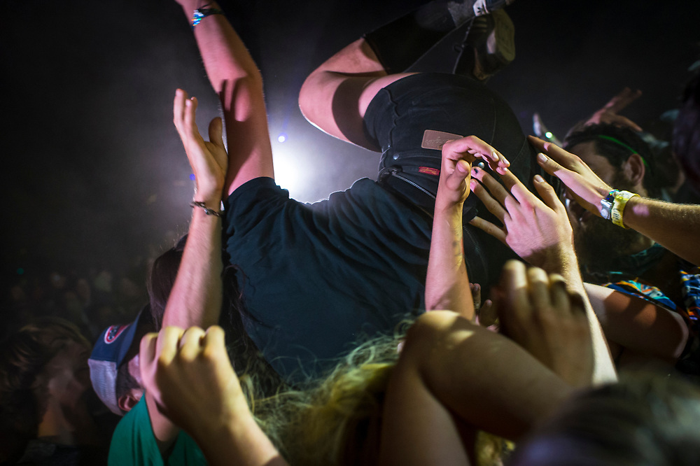 Bill Purcell, Crowd surfing with Ty Segall at the Treeline Stage.