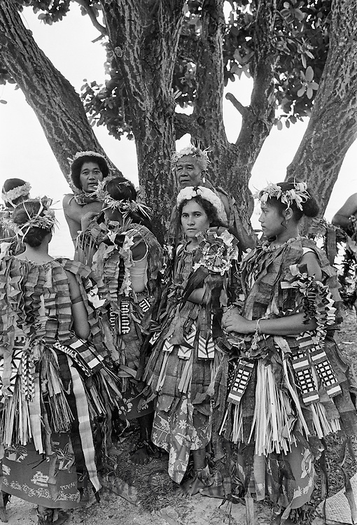 Local people in costume at cultural event in Tuvalu, South Pacific