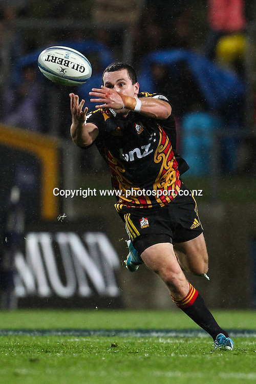 Chiefs' Tom Marshall loses the ball during a rain shower in the Super 15 Rugby match - Chiefs v Crusaders at Waikato Stadium, Hamilton, New Zealand on Saturday 19 April 2014.  Photo:  Bruce Lim / www.photosport.co.nz