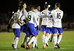 Rangers' Lassana Coulibaly celebrates scoring his sides second goal during the William Hill Scottish Cup fourth round match at Central Park, Cowdenbeath.