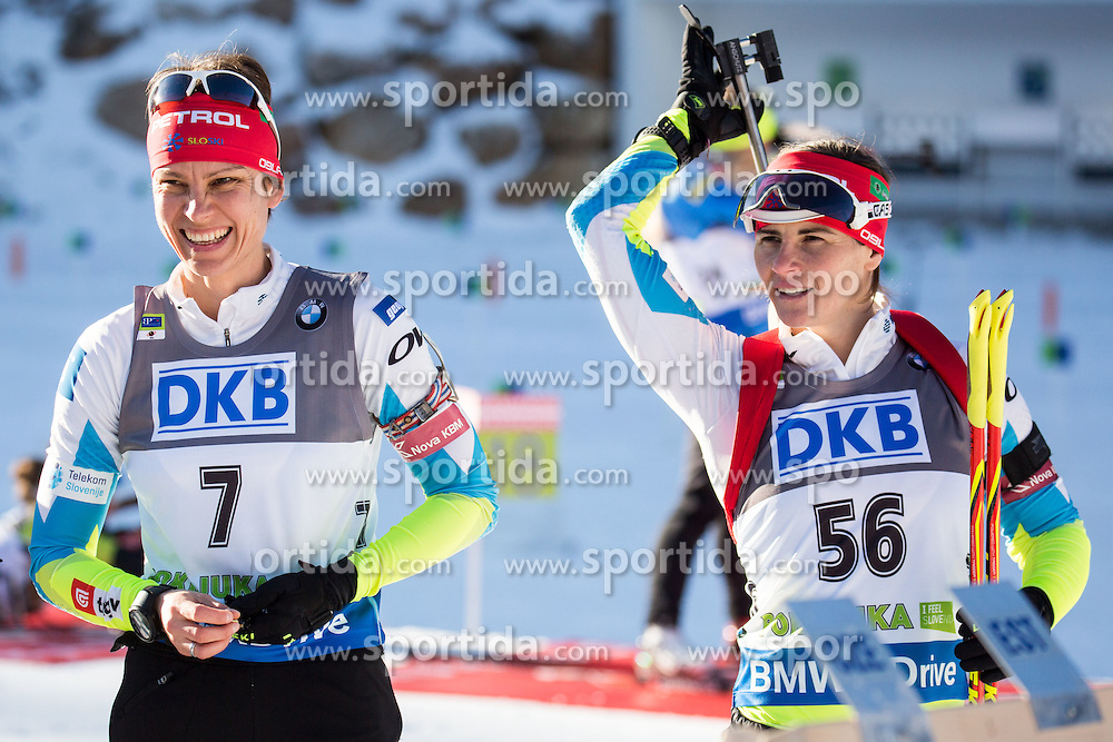 Teja Gregorin (SLO) and Andreja Mali (SLO) during Women 7,5 km Sprint at day 2 of IBU Biathlon World Cup 2015/16 Pokljuka, on December 18, 2015 in Rudno polje, Pokljuka, Slovenia. Photo by Vid Ponikvar / Sportida