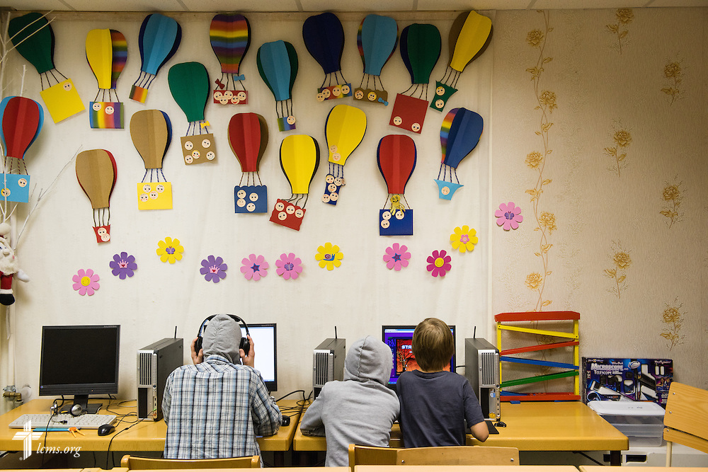 Children play together on computers Wednesday, Feb. 4, 2015, at the Generations Diaconia Center daycare in Riga, Latvia. LCMS Communications/Erik M. Lunsford