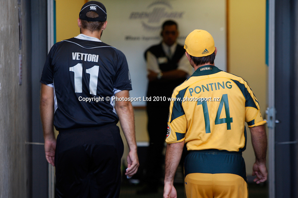 Ricky Ponting and Daniel Vettori.<br />4th one day international. New Zealand Black Caps versus Australia one day match.<br />Chappell Hadlee cricket series. Eden Park, Auckland, New Zealand. Thursday 11 March 2010. Photo: Andrew Cornaga/PHOTOSPORT