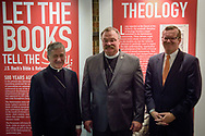 Following The Reformation at 500: An Interdenominational Conversation, on Monday, Oct. 30, 2017, at Chapel of Our Lord at Concordia University Chicago in River Forest, Ill., presenters (L-R) Cardinal Blase J. Cupich, Archdiocese of Chicago, the Rev. Dr. Matthew C. Harrison, president of the LCMS, and the Rev. Dr. Philip Ryken, president of Wheaton College, stand for a photograph together. The moderator was Manya Brachear Pashman, religion correspondent for the Chicago Tribune. LCMS Communications/Erik M. Lunsford