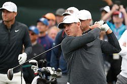 June 12, 2019 - Pebble Beach, CA, U.S. - PEBBLE BEACH, CA - JUNE 12: PGA golfer Brooks Koepka tees off on the 9th hole during a practice round for the 2019 US Open on June 12, 2019, at Pebble Beach Golf Links in Pebble Beach, CA. (Photo by Brian Spurlock/Icon Sportswire) (Credit Image: © Brian Spurlock/Icon SMI via ZUMA Press)