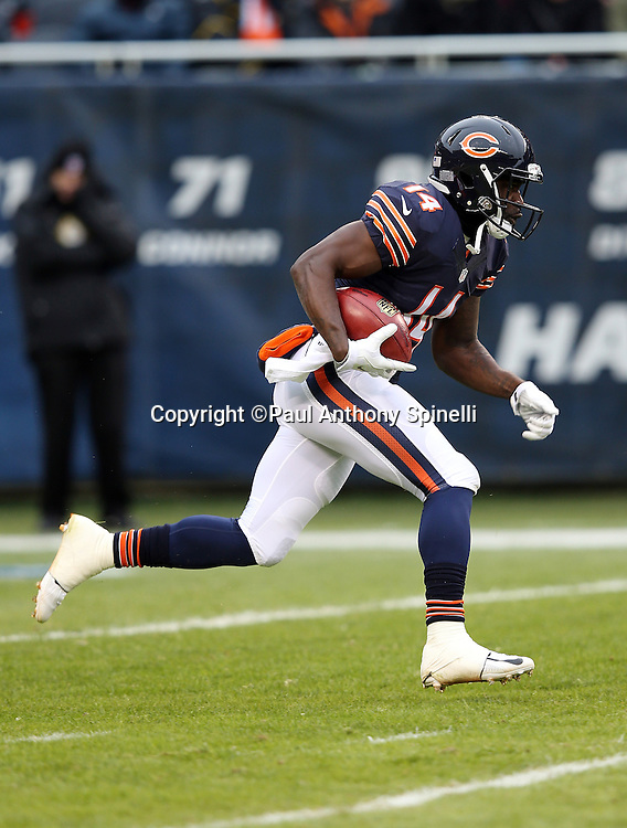 Chicago Bears kick returner Deonte Thompson (14) returns a kick during the NFL week 17 regular season football game against the Detroit Lions on Sunday, Jan. 3, 2016 in Chicago. The Lions won the game 24-20. (©Paul Anthony Spinelli)
