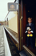 "Venice Simplon-Orient-Express. A young visitor of Eurodisney boarding the Pullman Train's ""Perseus"" car."