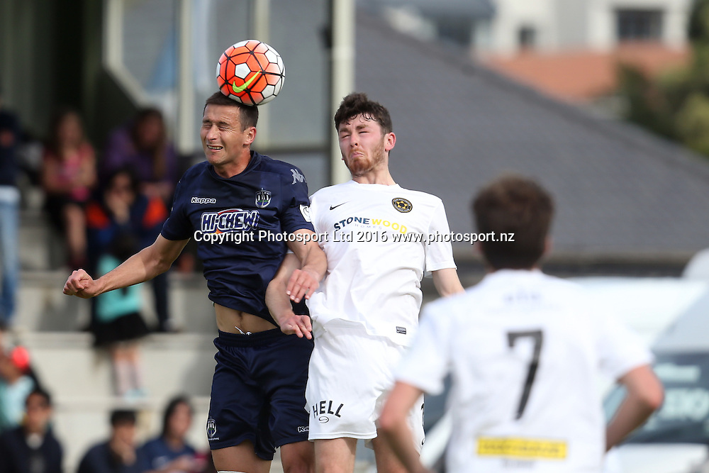 Auckland's Mario Bilen wins the ball in the air. Stirling Sports Premiership, Round 1, Auckland City FC v Team Wellington, Kiwitea Street Auckland, Sunday 23rd October 2016. Copyright Photo: Shane Wenzlick