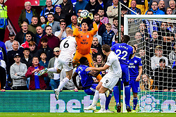 Neil Etheridge of Cardiff City contends for the aerial ball with Ben Mee of Burnley - Mandatory by-line: Ryan Hiscott/JMP - 30/09/2018 -  FOOTBALL - Cardiff City Stadium - Cardiff, Wales -  Cardiff City v Burnley - Premier League