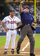Home plate umpire John Shulock ejects Atlanta Braves manager Bobby Cox for arguing a balk call -- because of a little-cited rule about the positioning of the catcher -- in the first inning of a game.