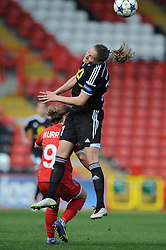 FFC Frankfurt's Ana Maria Crnogorcevic challenges for the header with Bristol Academy's Christie Murray - Photo mandatory by-line: Dougie Allward/JMP - Mobile: 07966 386802 - 21/03/2015 - SPORT - Football - Bristol - Ashton Gate Stadium - Bristol Academy v FFC Frankfurt - UEFA Women's Champions League - Quarter Final - First Leg