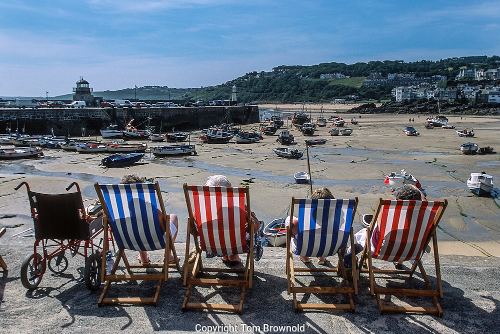 Summer day on the Cornwall coast in the town of St. Ives, England
