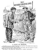 "A Land of Promise. First Workman (employed). ""They promised me a house; but there don't seem to be enough bricks, or men to lay 'em."" Second Workman (unemployed). ""They promised me work, and I'm willin' to make bricks or lay 'em; but I can't get a job."" Both (together). ""And they call themselves a 'Labour' gover'ment."""