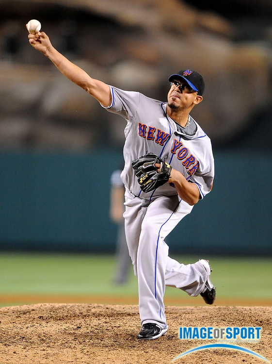 Jun 16, 2008; Anaheim, CA, USA; New York Mets reliever Duaner Sanchez (50) pitches during 9-6 victory over the Los Angeles Angels at Angel Stadium. Mandatory Credit: Kirby Lee/Image of Sport-US PRESSWIRE