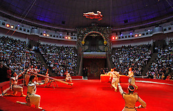 September 15, 2016 - Kiev, Ukraine - Circus artists perform during the presentation of the new show program  ''Extreme Arena'' at the Ukrainian National Circus in Kiev, Ukraine, 15 September,2016. The show will be staged from 15 September to 11 December 2016. (Credit Image: © Str/NurPhoto via ZUMA Press)