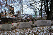 The oldest cemetery in Clairton sits on a little hill, overshadowed by the United States Steel Coke Works.  The oldest grave belongs to Benjamin Kuykendall, who arrived here in 1754 and was buried in 1785. In the year 1890 most of the cemetery was dug up to make room for additional railroad tracks.<br /> <br /> When the Clairton Coke Works employed 5,000 workers and ran three shifts, Clairton had three movie theaters and four car dealerships. Now the plant employs 1,300 workers and residents must drive five miles out of town to buy food since there is no longer a grocery store in town.