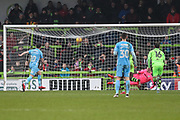 Coventry City's Marc McNulty(10) takes a penalty and scores a goal 1-1 during the EFL Sky Bet League 2 match between Forest Green Rovers and Coventry City at the New Lawn, Forest Green, United Kingdom on 3 February 2018. Picture by Shane Healey.