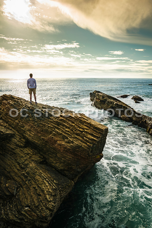 Young Man Standing on the Cliffs at Montana de Oro State Park