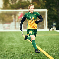 4th year defender, Cassie Longmuir (18) of the Regina Cougars during the Women's Soccer home game on Sun Sep 23 at U of R Field. Credit: Arthur Ward/Arthur Images