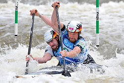June 2, 2018 - Prague, Czech Republic - David Scheroeder and Nico Bettge of Germany in action during the Men's C2 finals at the European Canoe Slalom Championships 2018 at Troja water canal in Prague, Czech Republic, 02 June 2018. (Credit Image: © Slavek Ruta via ZUMA Wire)