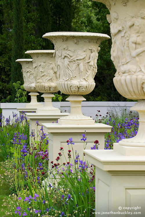 Giant Borghese urns in the Laurent-Perrier Garden.