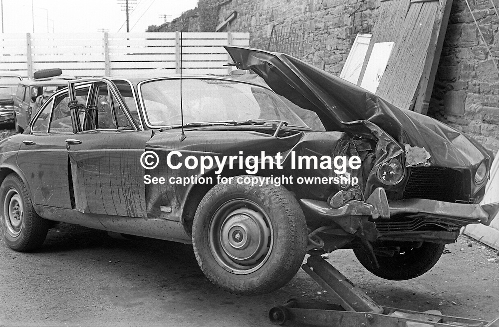 The car that was being driven by Buster McShane when he was in a fatal accident in N Ireland on 24th April 1973. McShane was the coach of Olympic Gold Medalist Mary Peters. 197304240216<br />