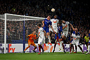 Chelsea FC midfielder Ross Barkley (8) hit the bar with this header during the Europa League match between Chelsea and MOL Vidi at Stamford Bridge, London, England on 4 October 2018.