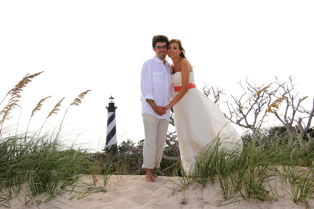 Hatteras Lighthouse wedding, outer banks, NC