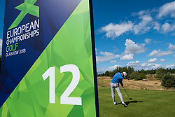 Gleneagles, Scotland, UK; 9 August, 2018.  Day two of European Championships 2018 competition at Gleneagles. Men's and Women's Team Championships Round Robin Group Stage - 2nd Round. Four Ball Match Play format. Conor Syme of GB on the 12th tee.