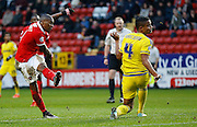Charlton Athletic midfielder Callum Harriott watches his shot go just wide of the goal during the Sky Bet Championship match between Charlton Athletic and Nottingham Forest at The Valley, London, England on 2 January 2016. Photo by Andy Walter.
