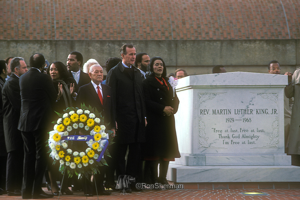 President George H Bush and Coretta Scott King at Gravesite during ML King Day Celebration 1986 in Atlanta Georgia