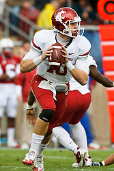 October 23, 2010; Stanford, CA, USA;  Washington State Cougars quarterback Jeff Tuel (10) in the pocket against the Stanford Cardinal during the second quarter at Stanford Stadium.