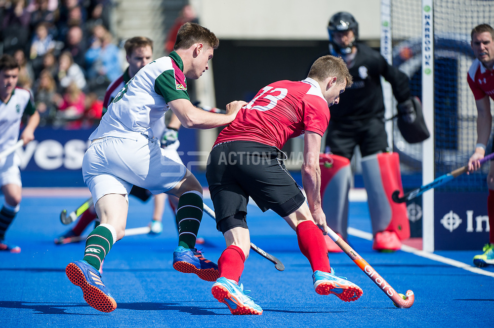 Holcombe's Sam Ward drives into the circle. Holcombe v Surbiton - Semi-Final - Men's Hockey League Finals, Lee Valley Hockey & Tennis Centre, London, UK on 22 April 2017. Photo: Simon Parker
