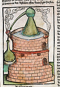 Distillation: Still in water bath (bain-marie), showing an Alembic. From Braunschweig 'Liber de arte distillandi', Strasbourg, 1500. Hand-coloured woodcut