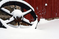 Tractor Wheel on Wisconsin Farm in Snow