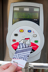 Electronic ticket machine using RFID contactless magnetic card at Vaporetto or water bus stop on Grand Canal in Venice Italy