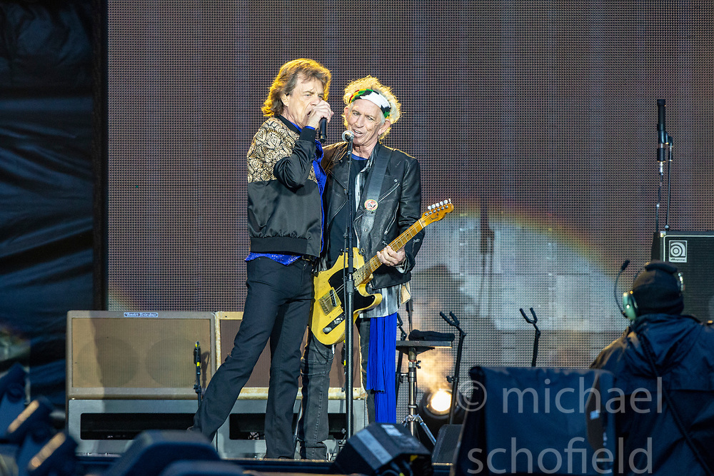 Mick Jagger and Keith Richards of The Rolling Stones performs on stage at Murrayfield Stadium in Edinburgh, Scotland.