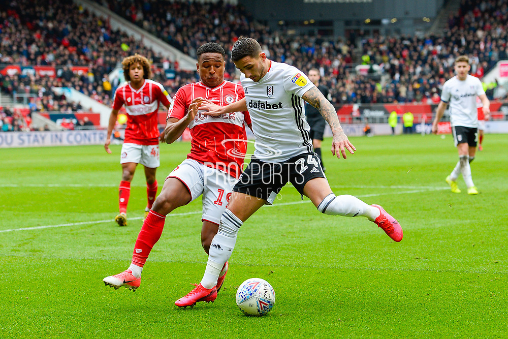 Anthony Knockaert (24) of Fulham battles for possession with Niclas Eliasson (19) of Bristol City during the EFL Sky Bet Championship match between Bristol City and Fulham at Ashton Gate, Bristol, England on 7 March 2020.