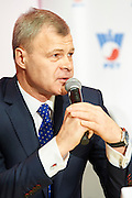 Piotr Szkielkowski speaks during press conference of Polish Tennis Association before Fed Cup match at National Stadium in Warsaw, Poland.<br /> <br /> Poland, Warsaw, December 15, 2014<br /> <br /> Picture also available in RAW (NEF) or TIFF format on special request.<br /> <br /> For editorial use only. Any commercial or promotional use requires permission.<br /> <br /> Mandatory credit:<br /> Photo by &copy; Adam Nurkiewicz / Mediasport