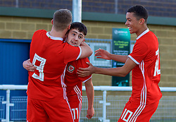BANGOR, WALES - Saturday, November 17, 2018: Wales' Joseph Adams (C) celebrates scoring the first goal with team-mates Daniel Griffiths (L) and Brennan Johnson (R) during the UEFA Under-19 Championship 2019 Qualifying Group 4 match between Sweden and Wales at the Nantporth Stadium. (Pic by Paul Greenwood/Propaganda)