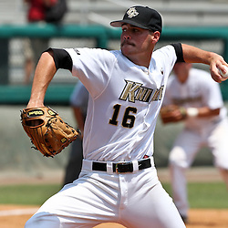 June 03, 2011; Tallahassee, FL, USA;  UCF starting pitcher Brian Adkins throws against the Alabama Crimson Tide during the 2011 Tallahassee Regional at Dick Howser Stadium. Alabama defeated UCF 5-3. Mandatory Credit: Derick E. Hingle