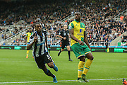 Newcastle United midfielder Georginio Wijnaldum  celebrates his goal  during the Barclays Premier League match between Newcastle United and Norwich City at St. James's Park, Newcastle, England on 18 October 2015. Photo by Simon Davies.